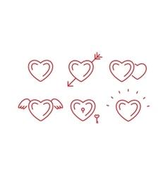 Set of outline heart symbols vector image
