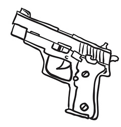 simple black and white gun vector image