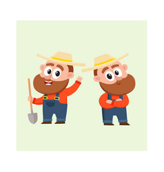 two funny farmer characters in overalls holding vector image vector image