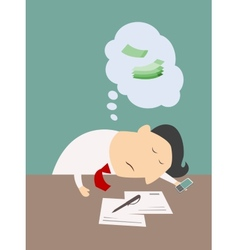 Exhausted businessman asleep at his desk vector image vector image