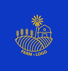 farm concept logo template with farm landscape vector image