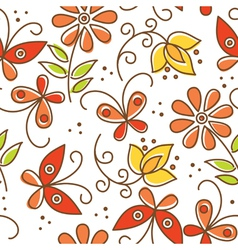 floral seamless pattern with butterflies vector image vector image