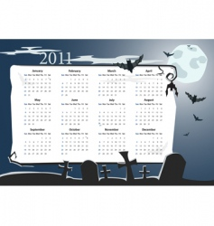 Halloween calendar 2011 with cemetery vector image vector image
