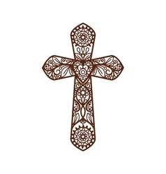 Ornate christian cross on white vector image