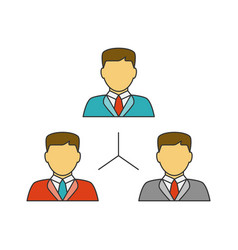 people network flat line icon vector image vector image