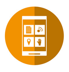 smartphone social media connection button shadow vector image vector image