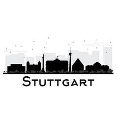 stuttgart city skyline black and white silhouette vector image vector image