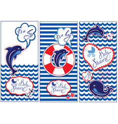 baby boy shower nautical set party decoration vector image vector image