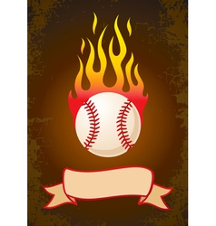 Burning baseball vector image vector image