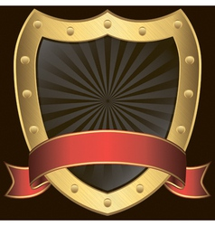 Golden shield with rd ribbon vector image