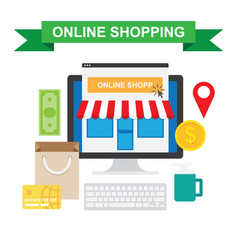 online shopping concept with store vector image