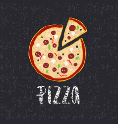 pizza lettering with hand drawn pizza circle vector image