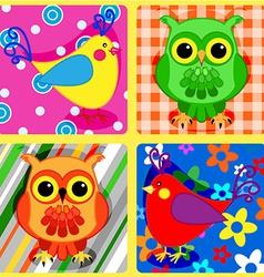 Seamless patchwork birds-2 vector image vector image