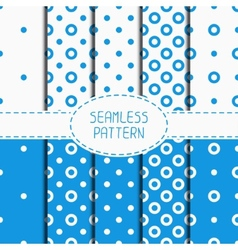 Set of blue geometric seamless polka dot pattern vector image