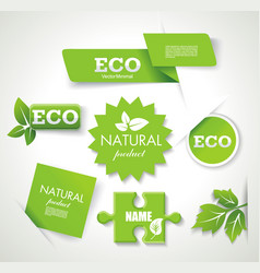 set of eco green natural badges labels banners vector image vector image