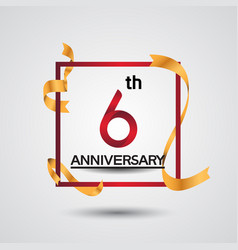 6 anniversary design with red color in square vector