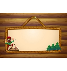 A hanging wooden template with a lumberjack vector image