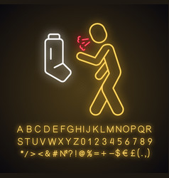 Allergic asthma anaphylaxis neon light icon vector