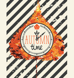 autumn banner with clock on a poplar leaf vector image