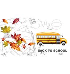 back to school watercolor card yellow bus vector image