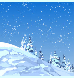 Background snowy mountain with firs and snowflakes vector
