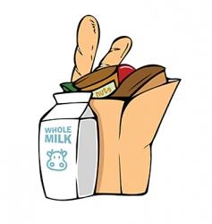 Bag of groceries vector