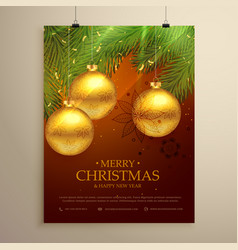 beautiful merry christmas background design flyer vector image