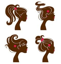 Beautiful women silhouettes vector