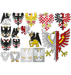 big set of heraldic eagles vector image