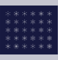 big set snowflakes winter christmas xmas vector image