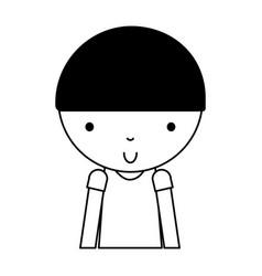 Black icon cute little boy cartoon vector