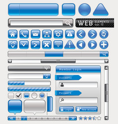Blue button for website and app vector