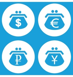 Blue purse icons set vector image