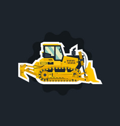 bulldozer tracked vehicles tractor the object vector image