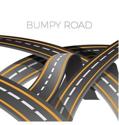 Bumpy road icon uneven dangerous wave path vector