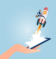 Businessman riding rocket rom smart phone vector