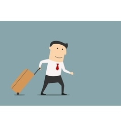 Businessman with suitcase going for vacation vector