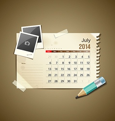 Calendar July 2014 vector image