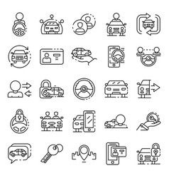 Car sharing icons set outline style vector