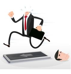 Cartoon headless businessman running on a vector