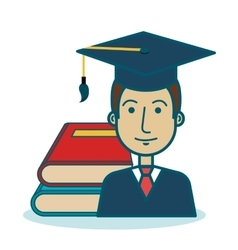 Cartoon student graduation books graphic vector