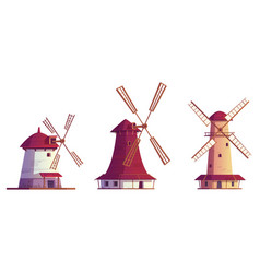 cartoon windmills antique buildings isolated set vector image