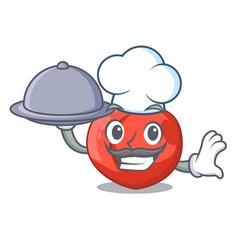 Chef with food cartoon fresh sweet nectarines in vector
