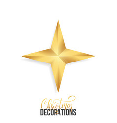 christmas star shiny gold realistic star vector image