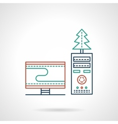 Christmas workplace flat color line icon vector image