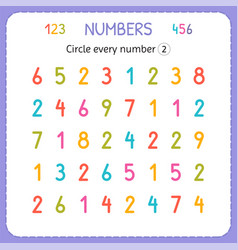 Circle every number two numbers for kids vector