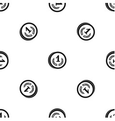 coin pattern seamless black vector image