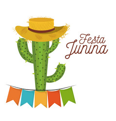 Colorful poster festa junina with white background vector