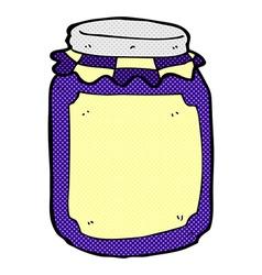 Comic cartoon jar of jam vector