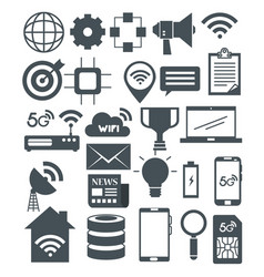 connectivity 5g technology icons vector image
